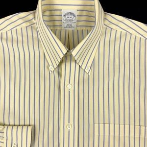 Brooks Brothers Mens Yellow Striped Button Down